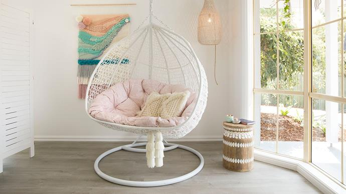"""Shaynna had the swinging egg chair custom-made especially for Jenny by [The Garden of Paradise](https://tgop.com.au/