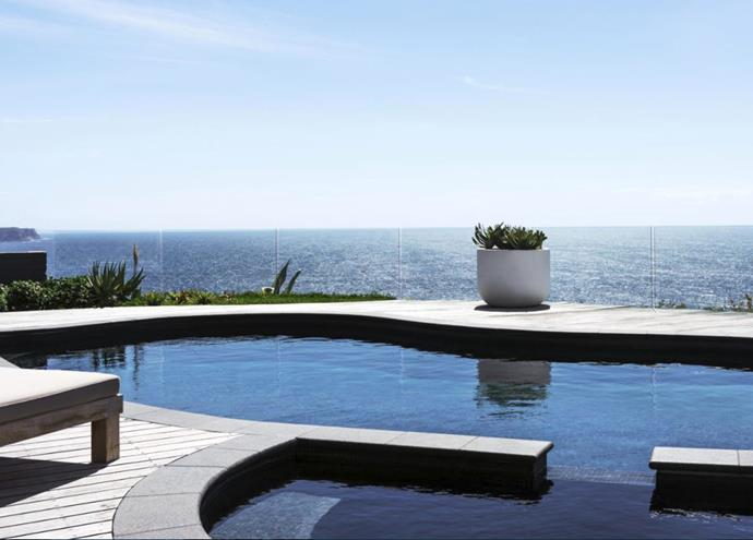 Raven granite coping from Eco Outdoor was customised for the curved pool, with ironbark surrounds from the previous deck. The potted succulent is *Aloe plicatilis*.