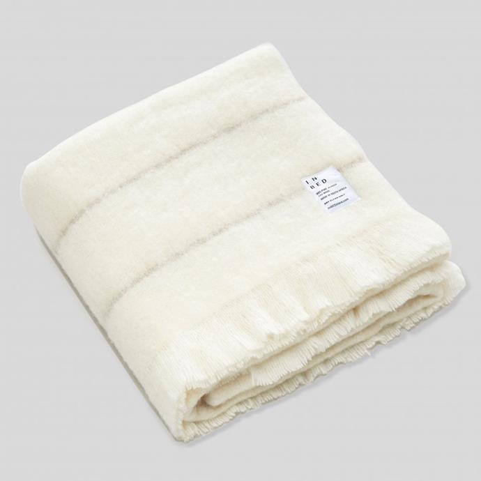 Alpaca throw rug in Ivory & Stripe, $270