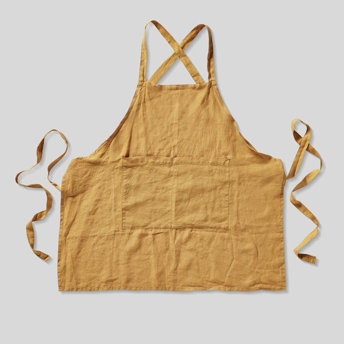 100% Linen Apron in Mustard (Full Length), $38