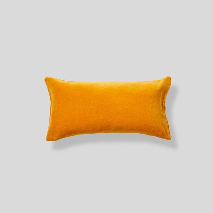 Organic cotton rectangle velvet cushion in Mustard, from $80