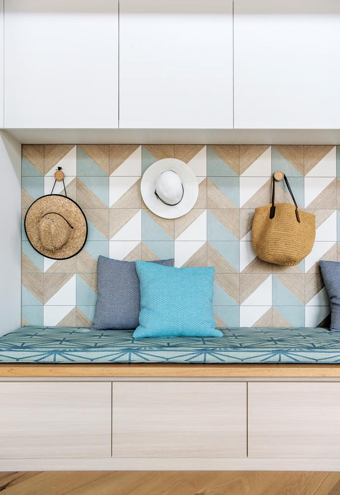 Storage is tucked into every available space. Skheme 'Trellis' tiles, from Italia Ceramics.