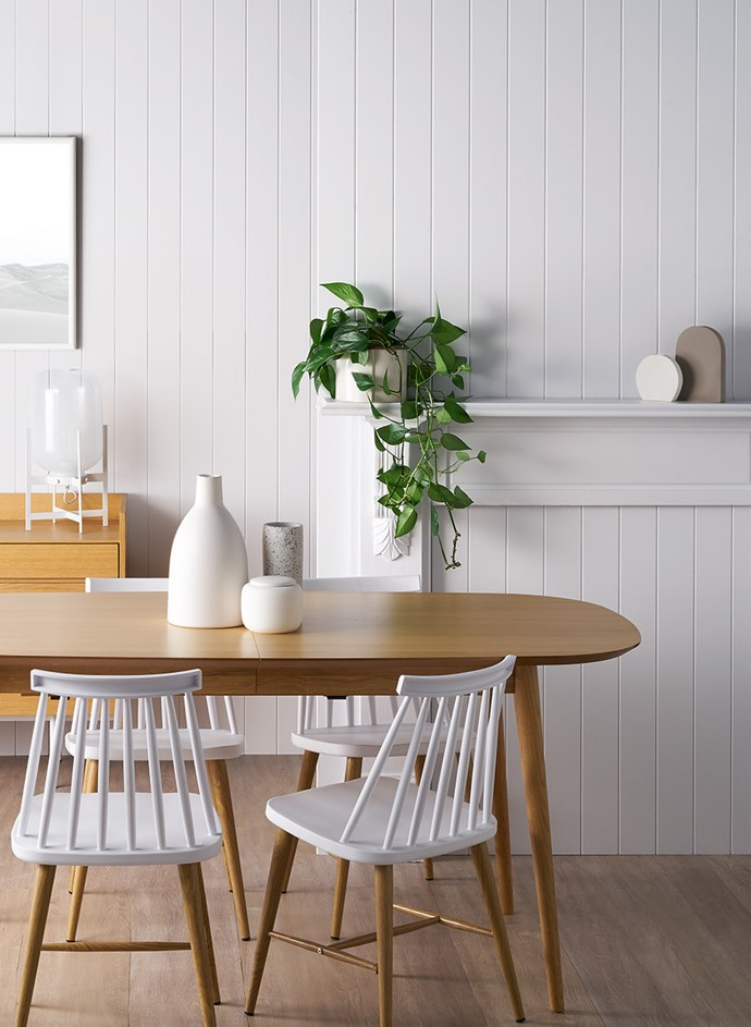 Create an interior statement by mixing nature-inspired textures with all-white walls. This dining room is painted with Taubmans Brighton Mist. *Image: Supplied*