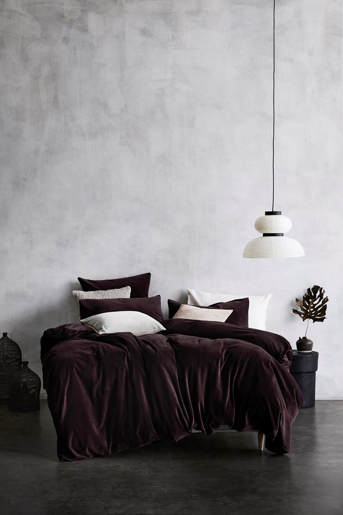 "Luxury Velvet Quilt Cover in Fig, $299, from [Aura Home](https://www.aurahome.com.au/luxury-velvet-quilt-cover-fig|target=""_blank""