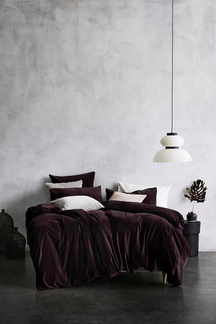 """Luxury Velvet Quilt Cover in Fig, $299, from [Aura Home](https://www.aurahome.com.au/luxury-velvet-quilt-cover-fig target=""""_blank"""" rel=""""nofollow"""")"""