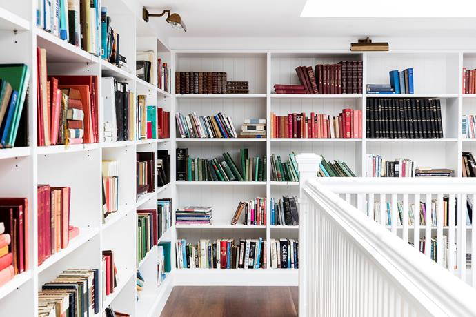 The library in the atrium was inspired by an online post showing ideas for rooms with very high ceilings. It's accessed via a compact spiral staircase.