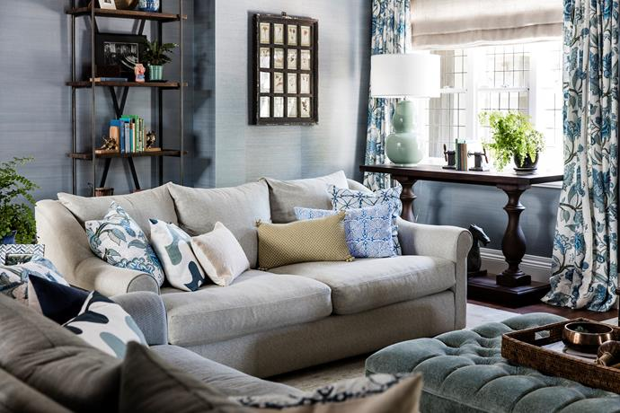 The sofas and ottoman are custom made in Schumacher fabrics, as are the curtains.