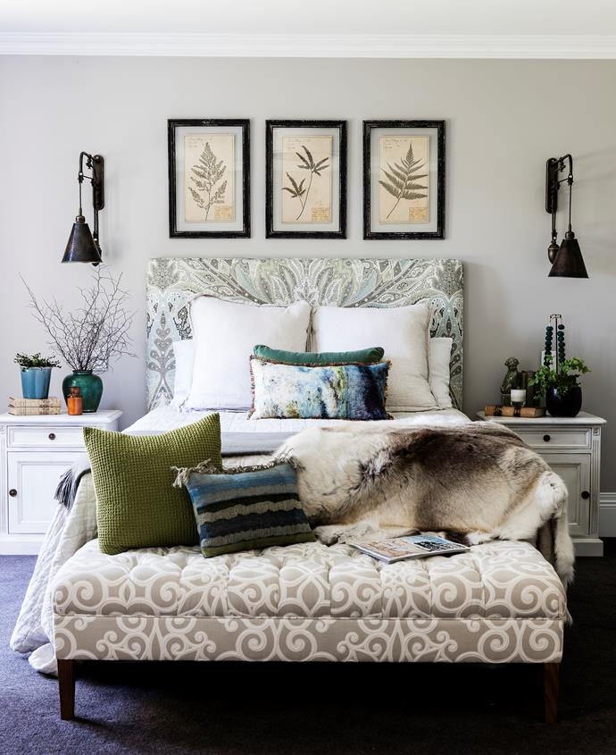The bedhead's Schumacher 'Cambay' print in Oyster was the starting point here.