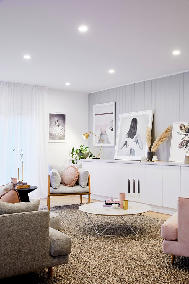 Blush pink and grey creates a soft Scandi vibe in the living room of Nat's home. Photo: Lisa Cohen | Styling: Beck Simon