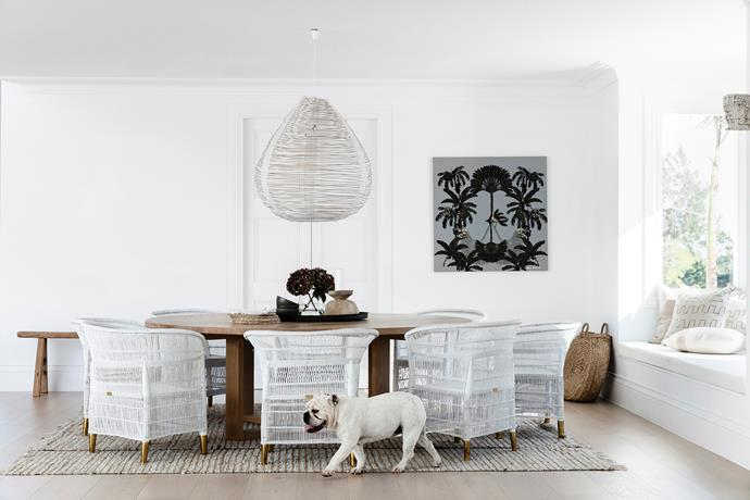 This casual dining zone adjacent to the kitchen showcases Bonnie's aesthetic: a white-on-white palette with touches of timber and raw materials.