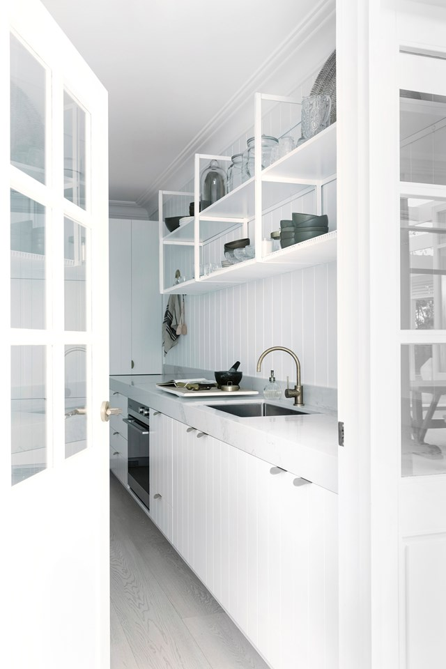 Bonnie Hindmarsh, of Three Birds Renovations has injected texture into her all-white kitchen using Scyon Linea panelling. *Photo: Maree Homer / Story: Australian House & Garden*