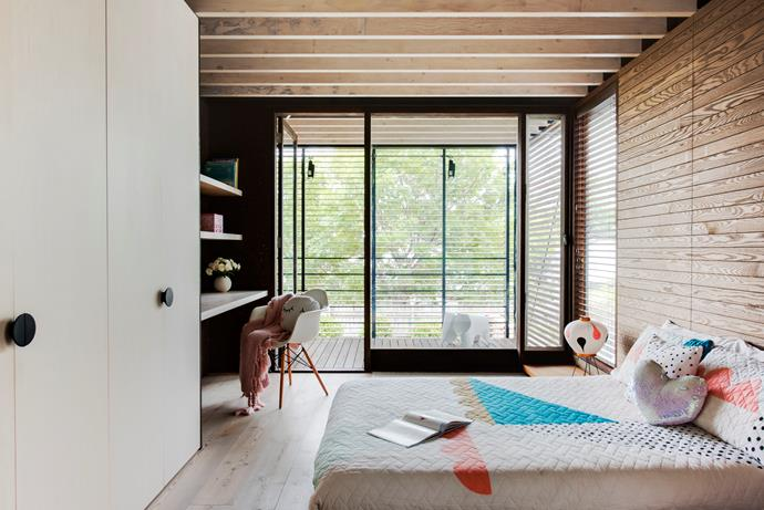 Sweet, simple and timeless. All the beds are low to the floor, their designs inspired by Japanese Zen philosophy. The desk area is sectioned with panels of burnt Portugal cork.