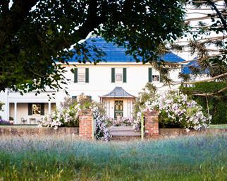 Exterior of Georgian style mansion on Brickendon Estate in Tasmania