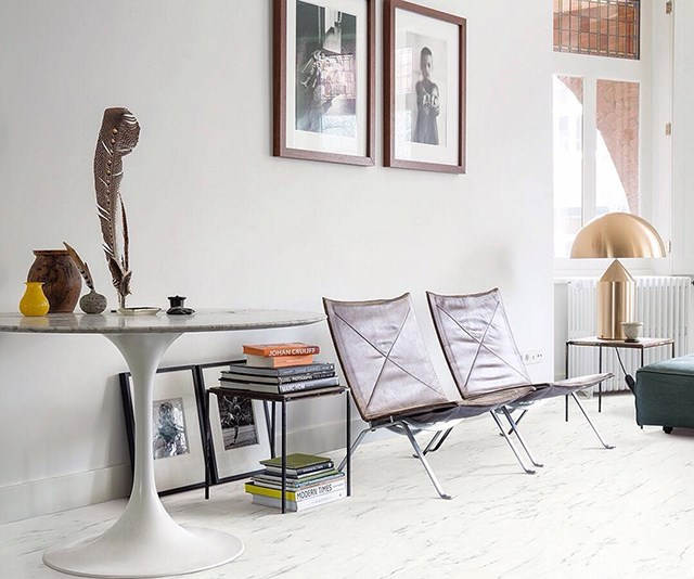 """Quick-Step's Marble Vinyl in Marble Carrara White adds elegance and warmth to this living room. *Photo: [Instagram/quickstepfloors](https://www.instagram.com/quickstepfloors/