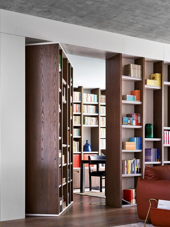 Luigi calls this the 'Anne Frank' bookcase as the pivoting door conceals the owner's study, providing a quiet, tranquil space.