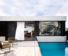 External shot of modern home and swimming pool