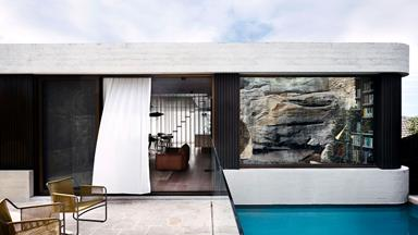 A stacked house in harmony with its cliff-side location
