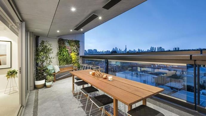 The building's octagonal design means that the penthouse enjoys sweeping views of South Yarra.