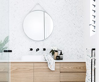 timber white bathroom herringbone tiles