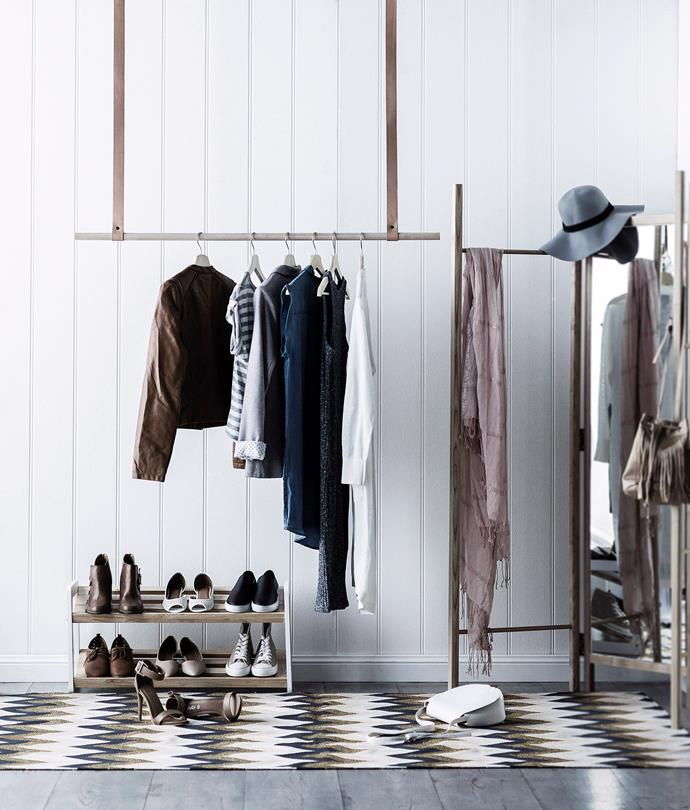 Short on wardrobe space? A stylish hanging clothes rack will solve that.