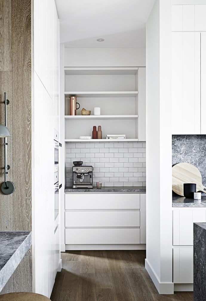 """**Hideaway** Storage space, both open and closed, is always a priority. Subway tiles replace stone on the splashback to provide contrast and keep costs down. *Design: [Rohan Riley Interior Design](https://www.rr-id.com.au/
