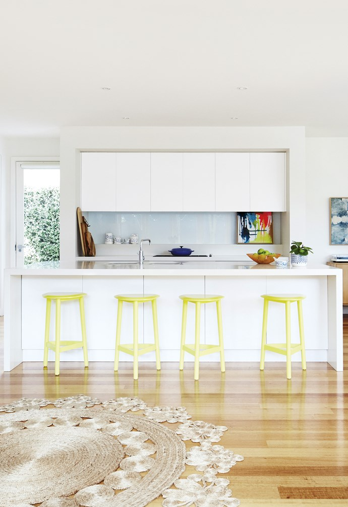 "**Bright side** Adding vibrant accents to an otherwise neutral space can be as simple as the addition of these citrus-toned bar stools. As a bonus, it's super easy to switch up* the look when you need to – either repaint them, or replace them as your tastes evolve. *Design: [Bungalow Trading Co](https://bungalowtradingco.com.au/|target=""_blank""