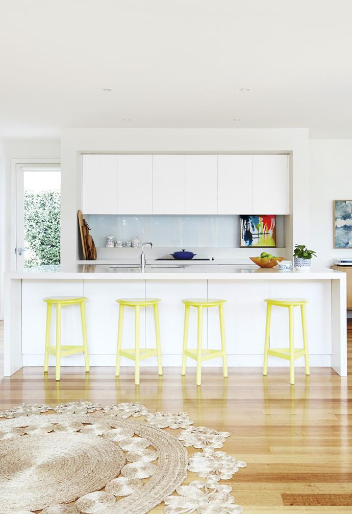"""**Bright side** Adding vibrant accents to an otherwise neutral space can be as simple as the addition of these citrus-toned bar stools. As a bonus, it's super easy to switch up* the look when you need to – either repaint them, or replace them as your tastes evolve. *Design: [Bungalow Trading Co](https://bungalowtradingco.com.au/