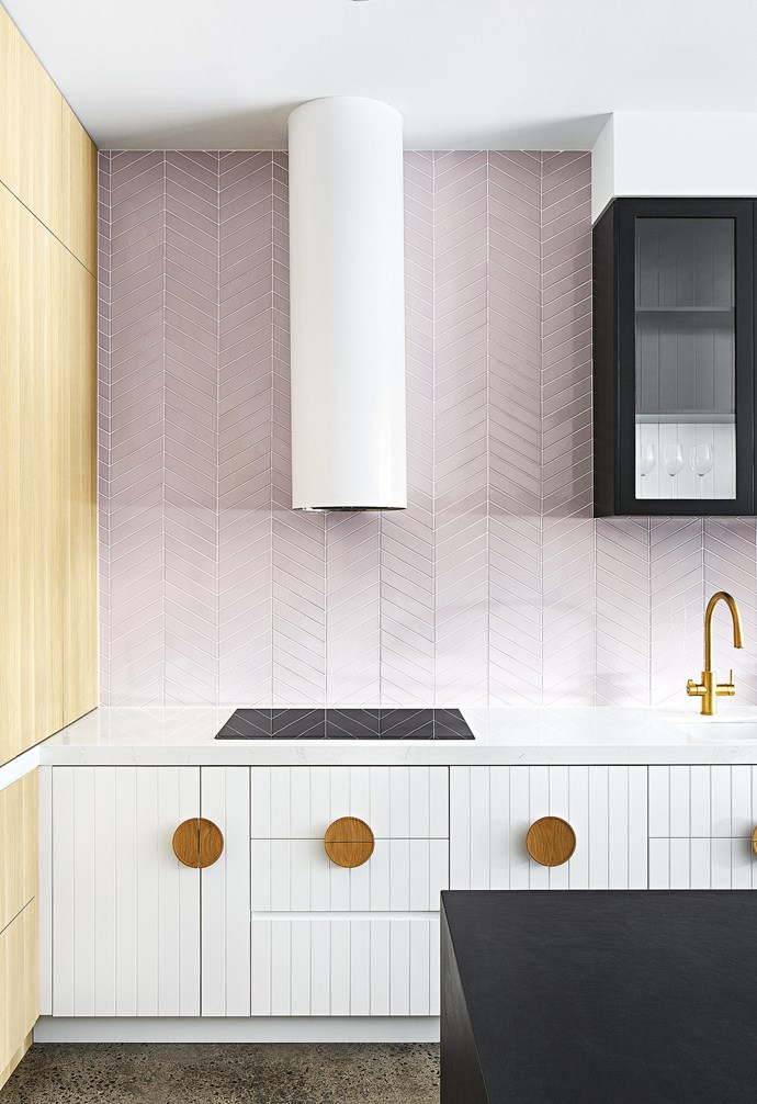 "**Sweet statement** Create a soft, feminine look with a whole wall in pale pink tiles. Extending the splashback to fill the entire wall creates a focal point that transforms the overall look and feel of the space. *Design & build: [GIA Bathrooms & Kitchens](https://www.giarenovations.com.au/|target=""_blank""