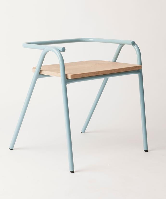 "Half hurdle **chair** in horizon blue, $340, from [Hunting for George](https://fave.co/2JjJ7v3|target=""_blank""