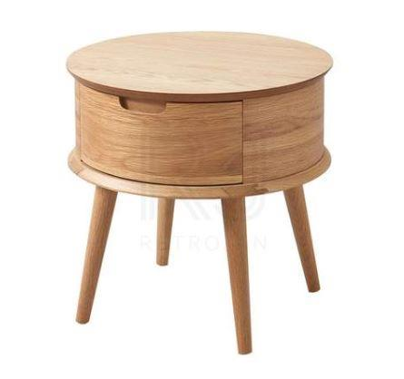 "'Mia' round **bedside table**, $299, from [Retrojan](https://fave.co/2KUNj9Z|target=""_blank""