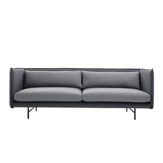 "Spectre 3 seater sofa in dark grey with black legs, $1,495, from [Nordik](https://fave.co/2Lay4pw|target=""_blank""
