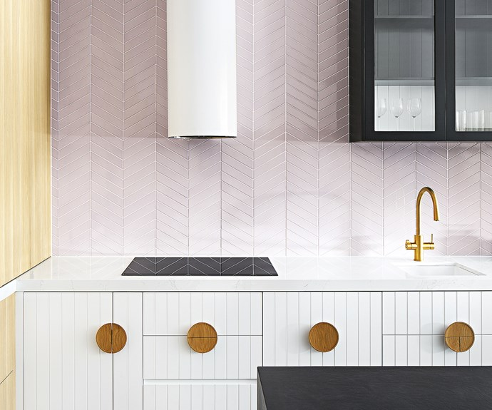 pink white kitchen tiles timber