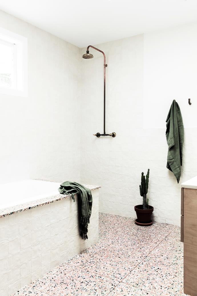 "The mum-of-three chose ""bold, bright and playful"" [trendy terrazzo tiles](https://www.homestolove.com.au/terrazzo-trend-2018-marble-5947