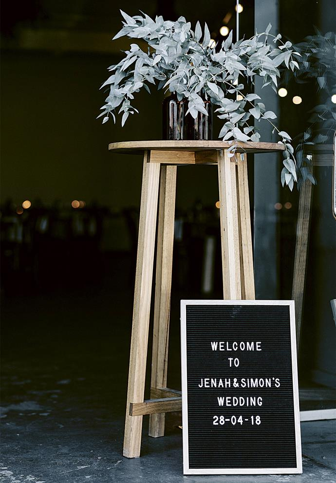 "A welcome sign for guests at the entrance. Florals provided by [North St Botanical](http://northst.com.au/|target=""_blank""