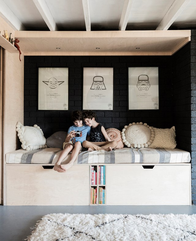 "This sleeping pod/reading nook with inbuilt storage in the rumpus area of this [Byron Bay home](https://www.homestolove.com.au/a-1970s-byron-bay-bungalow-updated-with-hygge-style-6983|target=""_blank""), was designed to ""partly to cover the wonky bricks in the walls, but also as a space for the kids to chill out,"" says homeowner Chloe. *Photo:* Maree Homer"