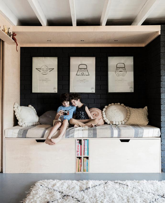 "Budding carpenter Charlie built the sleeping pod/reading nook with inbuilt storage in the rumpus area, ""partly to cover the wonky bricks in the walls, but also as a space for the kids to chill out,"" Chloe tells."