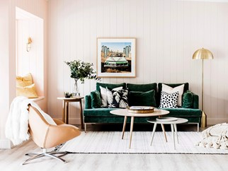 pink living room green sofa