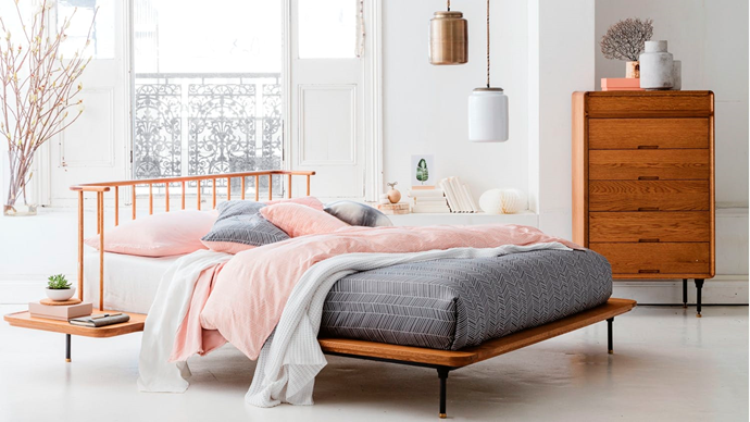 """'Distrikt' queen-size oak and cast-iron **bed**, $4999, [Domayne](https://fave.co/2O24ZP9