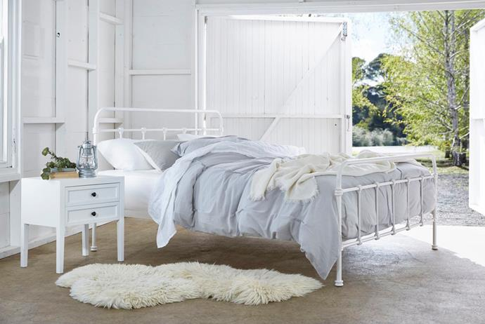 """'Vibe' queen-size metal and timber bed, $599, from [Snooze](https://fave.co/2JEuN02