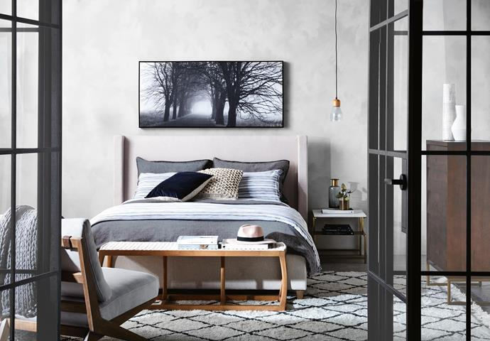 """'Mater' queen bed with fabric upholstery, $799, from [Freedom](https://fave.co/2O4dg54
