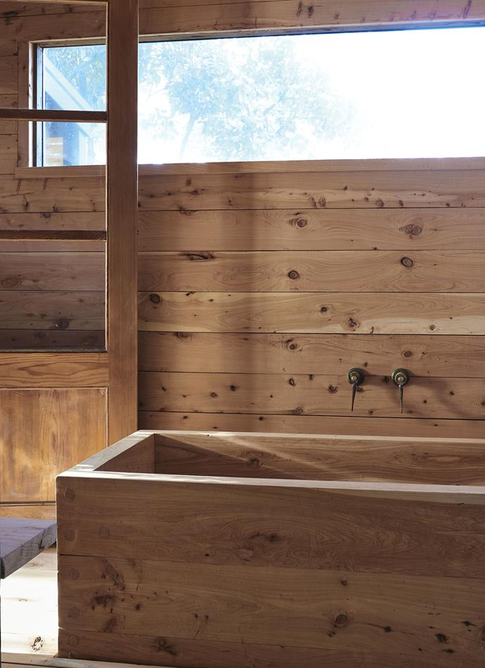 Local cypress was used to convert an old lean-to into a Japanese-style bathhouse. *Photography: Lachlan Moore*