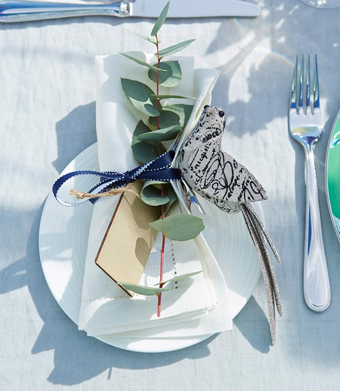 "Give place settings a sentimental touch with added greenery. Try Australian House and Garden Eucalyptus Spray, $14.95 at [MYER](https://www.myer.com.au/shop/mystore/offers/buy-2-save-40-across-a-great-range-of-homewares-and-luggage/home-d%C3%A9cor-s-events-promotions-w18-tactical-wk25-limited-time-offers-home-spend-save-homewares-luggage-dcor/eucalyptus-spray-20x20x78cm-469049590|target=""_blank""