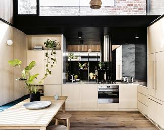 timber kitchen silver rangehood appliances smeg