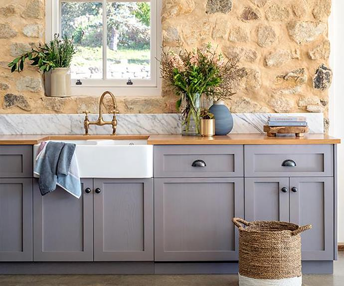 Shaker style kitchen cabinets in a country kitchen