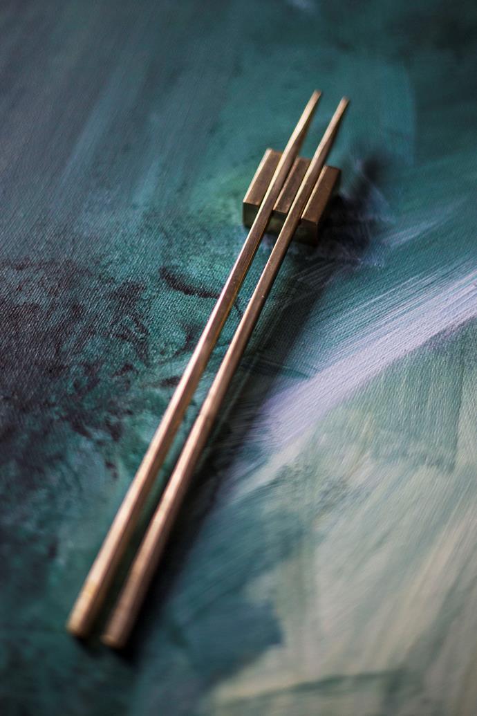 "Maibashi gold chopsticks and chopstick rest, from $35 a set, [Kinnow Cutlery](https://www.kinnowcutlery.com/|target=""_blank""|rel=""nofollow"")."