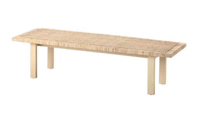 "Stockholm 2017 coffee table in Rattan Ash (1.6m x 50cm), $249, [Ikea](https://www.ikea.com/au/en/catalog/products/60347338/|target=""_blank""|rel=""nofollow"")."