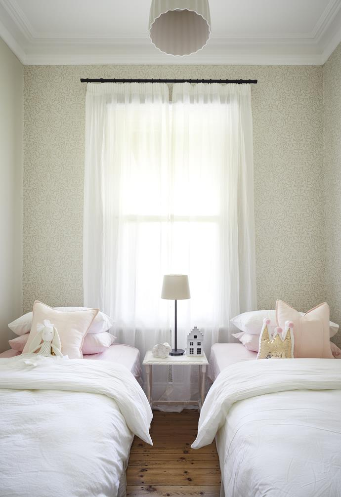 """**Girls' bedroom ** Wallpaper from The Dempsey Group is a feminine choice with [Adairs](https://www.adairs.com.au/