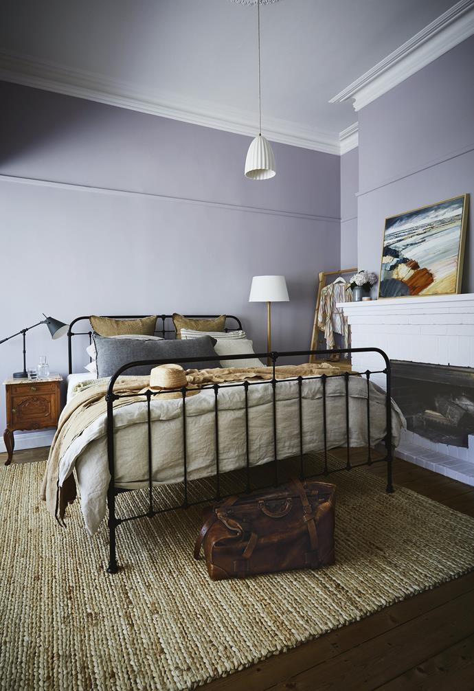 "**Master bedroom** ""We wanted this to feel like a safe haven, cocooned in moody tones,"" says Dea. Lilac walls in [Dulux](https://www.dulux.com.au/