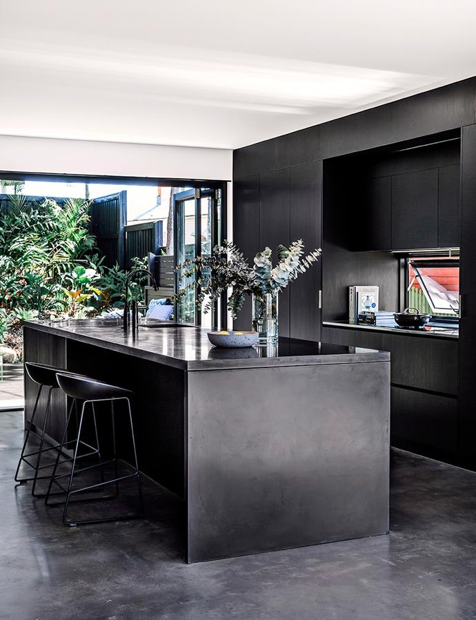 Breaking the traditional white-and-neutral kitchen mould, a dark palette reads sophisticated, urbane and unique. Glossy, reflective surfaces such as kitchen benchtops and tapware look especially striking in black, and can help make your kitchen appear larger than it is. Newer designs come with a finger and scratch-proof resistant finish, ensuring the kitchen is as practical as it is chic. Smeg's Dolce Stil Novo range, arriving in September, features the latest in premium design with black Eclipse glass with copper and stainless steel trim. Create points of interest with pops of colour: Greenery will give the space a lived-in feel and add brightness to the room. *Photography: Maree Homer / Bauersyndication.com.au*