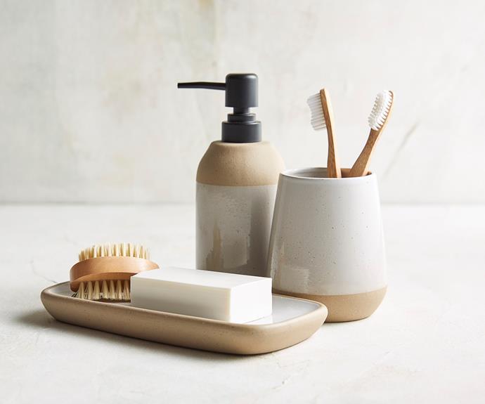 "Dipped glaze ceramic range tray, $8, soap dispenser, $8, tumbler $5, [Target](https://www.target.com.au/ target=""_blank"" rel=""nofollow"")."